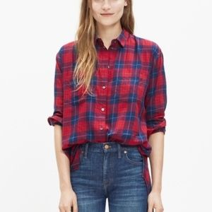 Madewell Blue Red Plaid Oversized Button Down M